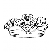 Carolee Jones Wood Mounted Stamp - Puppy Basket K5-2056