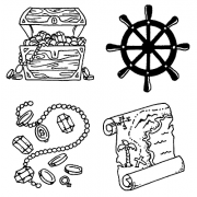 Carolee Jones Cling Mount Stamp Set - Pirate L-2222