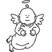 Darby New Wood Mounted Stamp - Small Angel Baby D1-428