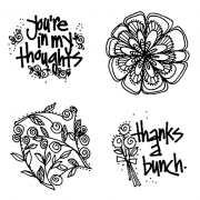 Joanne Sharpe Cling Mount Stamp Set - Flower Swirls Punch Set AGC3-2499