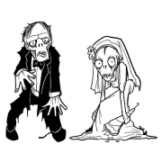 Len Peralta Cling Mount Stamps - Zombie Wedding L-2656