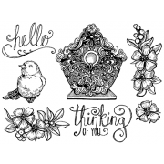 Nicole Tamarin Cling Mount Stamp Set - Bird House NT-006