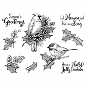 Nicole Tamarin Cling Mount Stamp Set - Holiday Birds NT-012