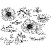 Nicole Tamarin Cling Mount Stamp Set - Parisian Poppies NT-008